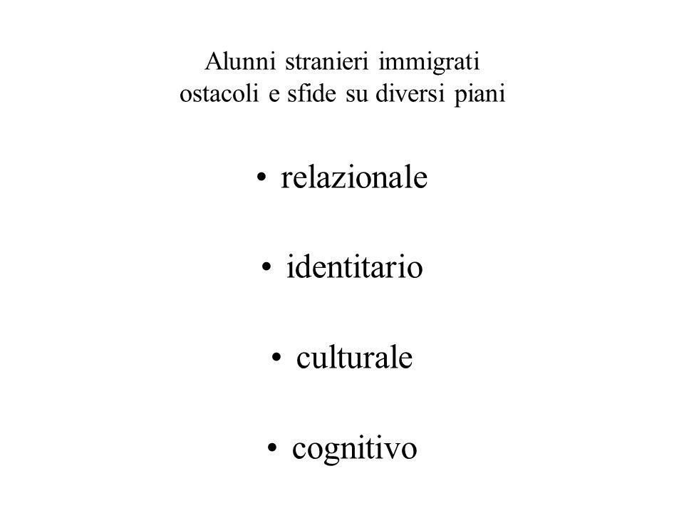 Alunni stranieri immigrati ostacoli e sfide su diversi piani relazionale identitario culturale cognitivo