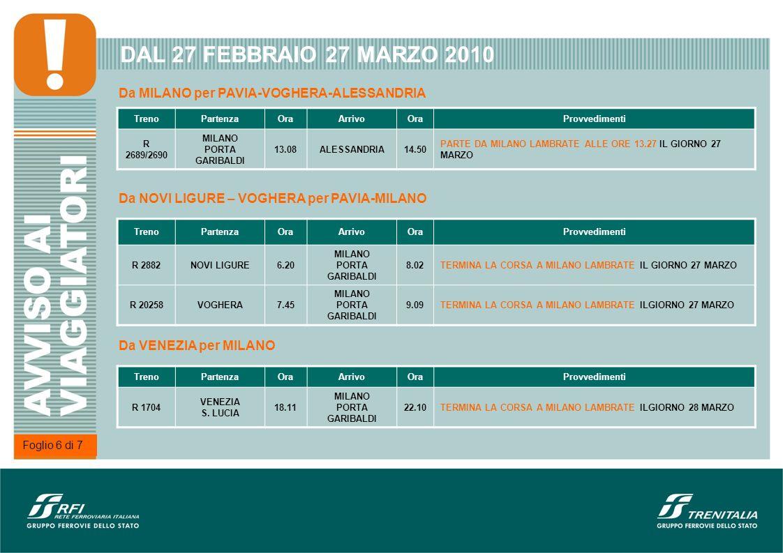 DAL 27 FEBBRAIO 27 MARZO 2010 TrenoPartenzaOraArrivoOraProvvedimenti EN 227PARIS BERCY18.52 ROMA TERMINI 10.12RITARDO PREVISTO 15 MINUTI NELLA NOTTE 27/28 FEBBRAIO TRENI A LUNGA PERCORRENZA Da ROMA TERMINI per PARIS BERCY e viceversa Foglio 7 di 7