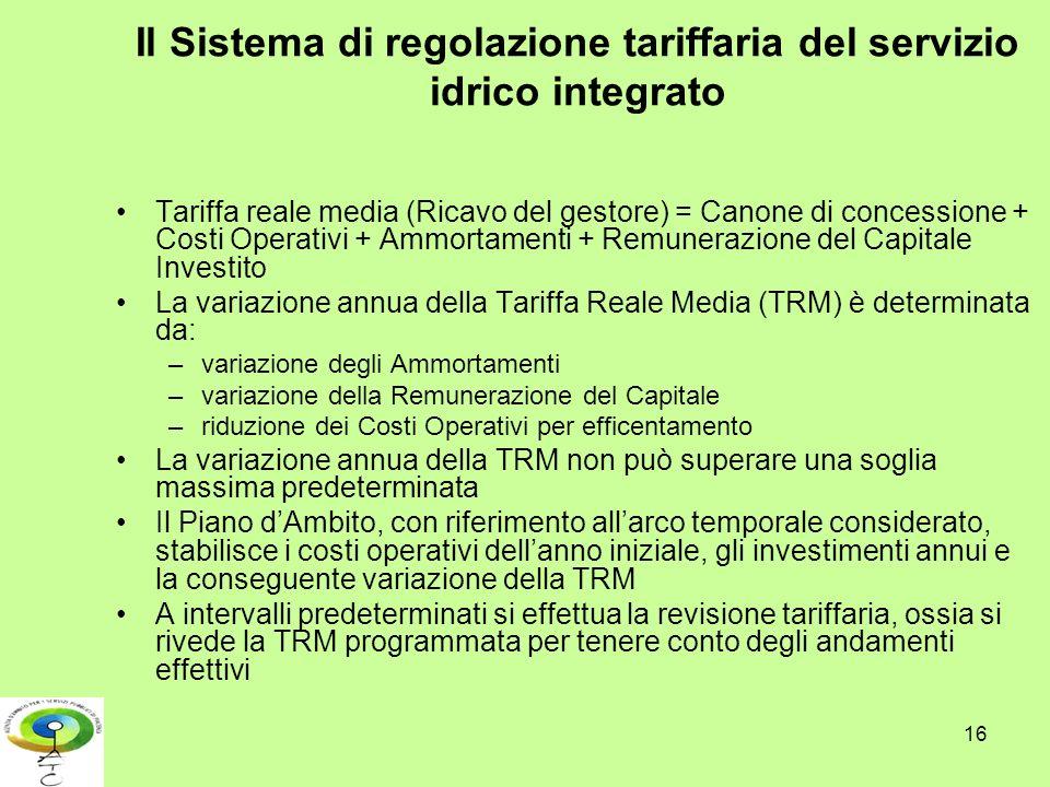16 Il Sistema di regolazione tariffaria del servizio idrico integrato Tariffa reale media (Ricavo del gestore) = Canone di concessione + Costi Operati