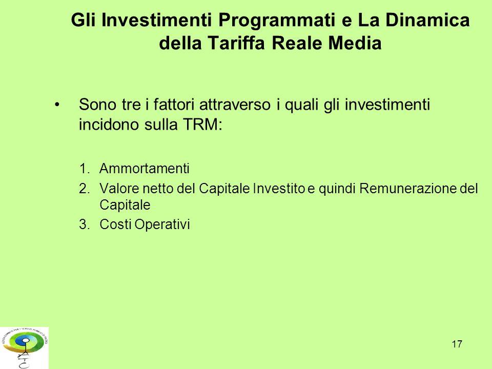 17 Gli Investimenti Programmati e La Dinamica della Tariffa Reale Media Sono tre i fattori attraverso i quali gli investimenti incidono sulla TRM: 1.A