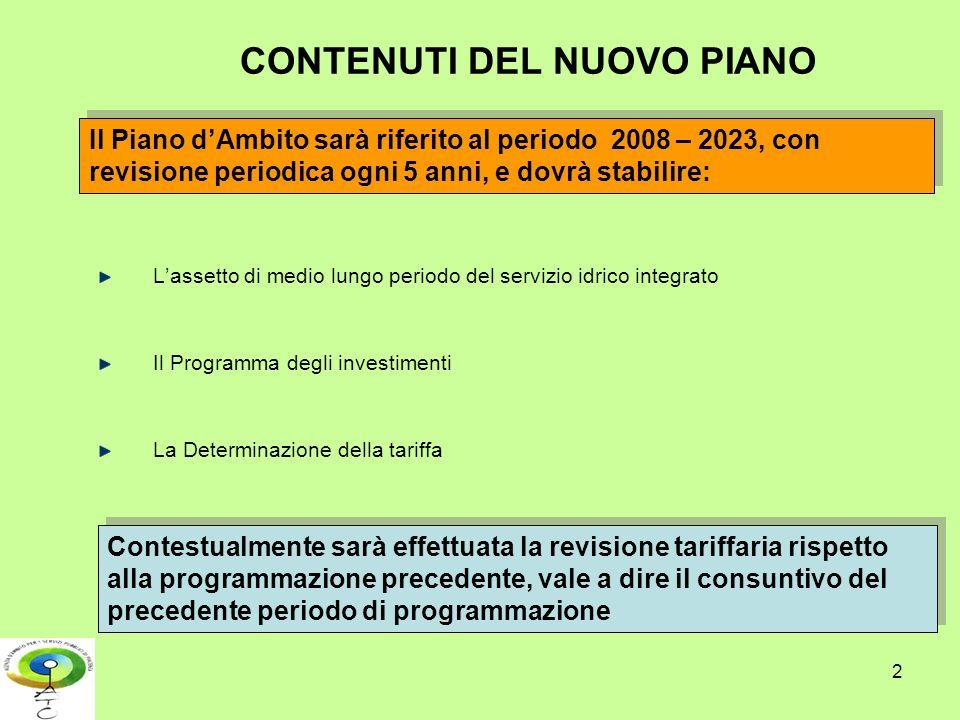 2 CONTENUTI DEL NUOVO PIANO Lassetto di medio lungo periodo del servizio idrico integrato Il Programma degli investimenti La Determinazione della tari