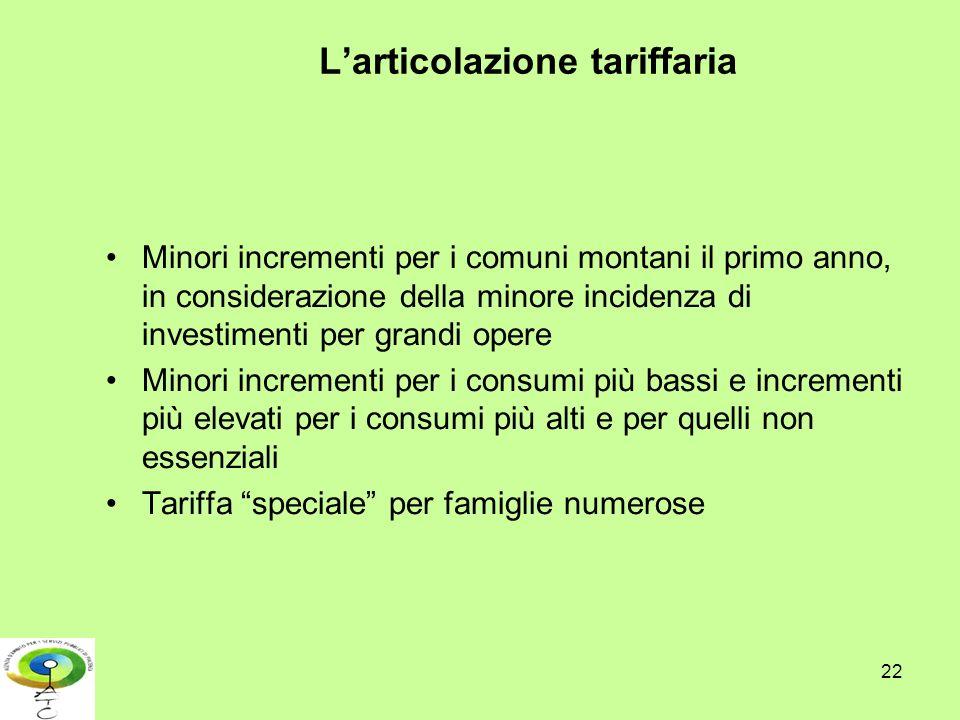 22 Larticolazione tariffaria Minori incrementi per i comuni montani il primo anno, in considerazione della minore incidenza di investimenti per grandi