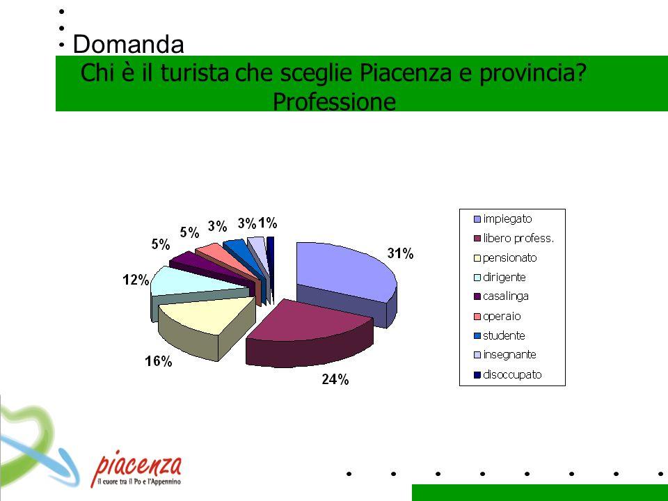 Domanda Chi è il turista che sceglie Piacenza e provincia? Professione