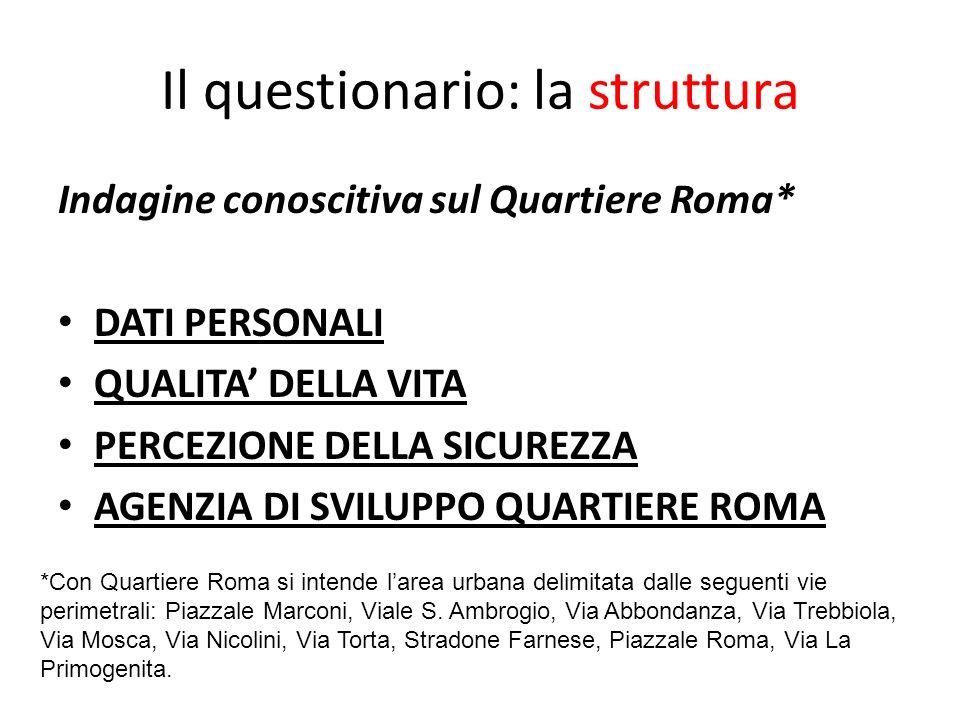 Il questionario: la struttura Indagine conoscitiva sul Quartiere Roma* DATI PERSONALI QUALITA DELLA VITA PERCEZIONE DELLA SICUREZZA AGENZIA DI SVILUPP