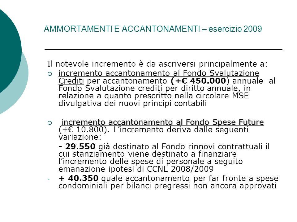 AMMORTAMENTI E ACCANTONAMENTI – esercizio 2009 Il notevole incremento è da ascriversi principalmente a: incremento accantonamento al Fondo Svalutazion