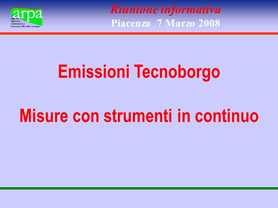 Riunione informativa Piacenza 7 Marzo 2008 Emissioni Tecnoborgo Misure con strumenti in continuo