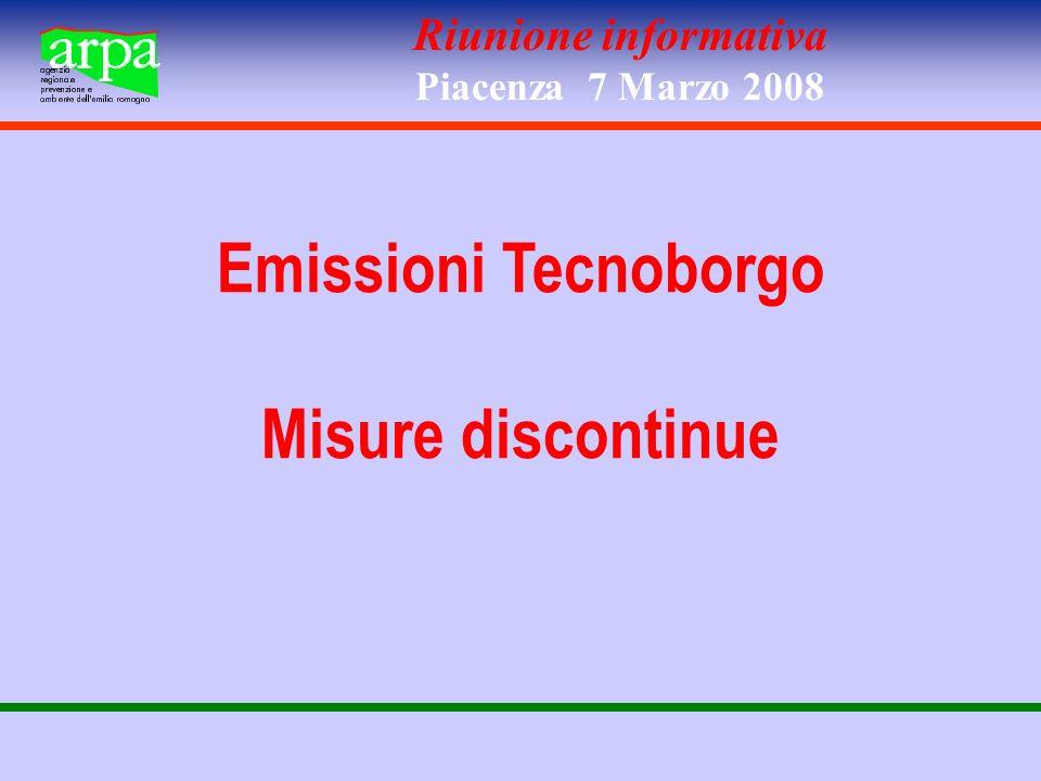 Riunione informativa Piacenza 7 Marzo 2008 Emissioni Tecnoborgo Misure discontinue