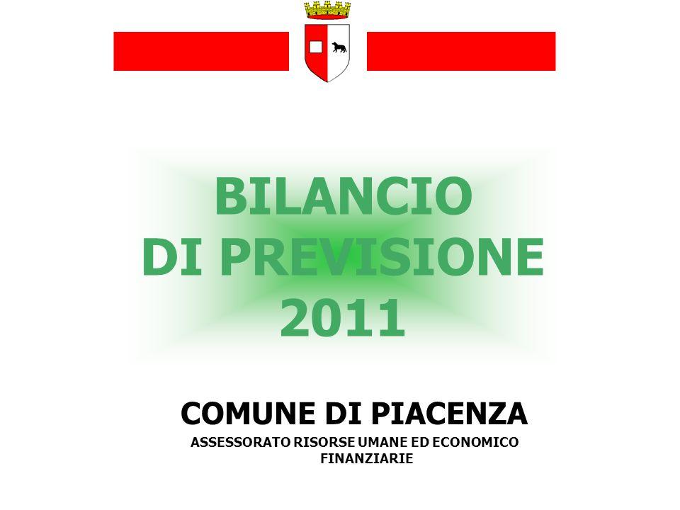 BILANCIO DI PREVISIONE 2011 COMUNE DI PIACENZA ASSESSORATO RISORSE UMANE ED ECONOMICO FINANZIARIE