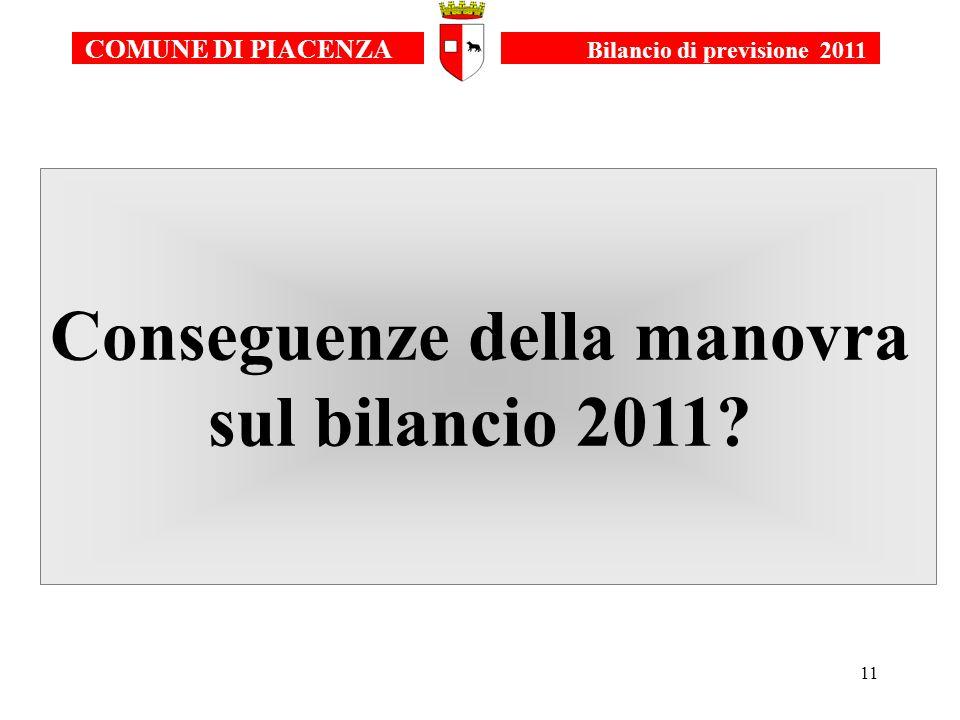 11 Conseguenze della manovra sul bilancio 2011 COMUNE DI PIACENZA Bilancio di previsione 2011