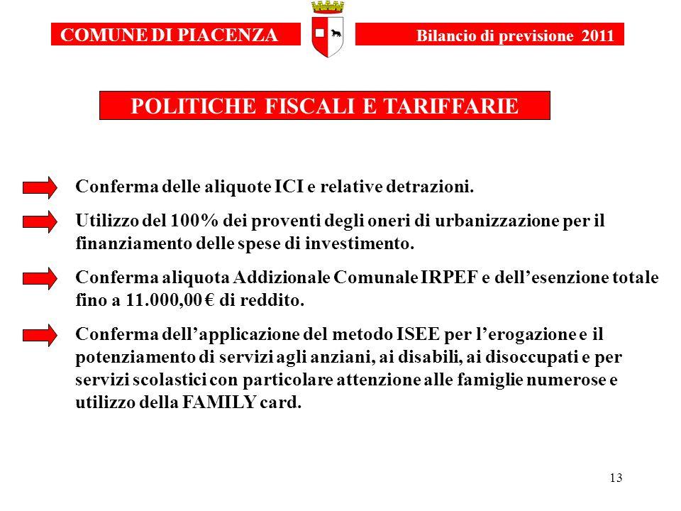 13 COMUNE DI PIACENZA Bilancio di previsione 2011 POLITICHE FISCALI E TARIFFARIE Conferma delle aliquote ICI e relative detrazioni. Utilizzo del 100%