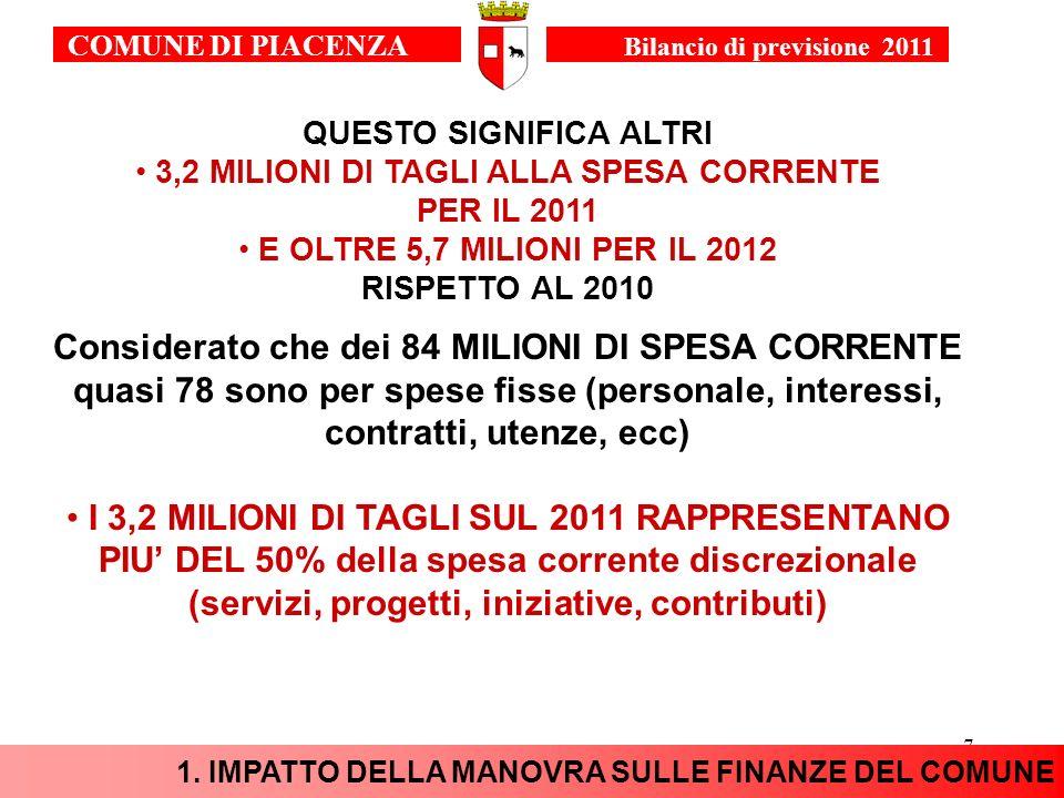 7 QUESTO SIGNIFICA ALTRI 3,2 MILIONI DI TAGLI ALLA SPESA CORRENTE PER IL 2011 E OLTRE 5,7 MILIONI PER IL 2012 RISPETTO AL 2010 Considerato che dei 84 MILIONI DI SPESA CORRENTE quasi 78 sono per spese fisse (personale, interessi, contratti, utenze, ecc) I 3,2 MILIONI DI TAGLI SUL 2011 RAPPRESENTANO PIU DEL 50% della spesa corrente discrezionale (servizi, progetti, iniziative, contributi) 1.
