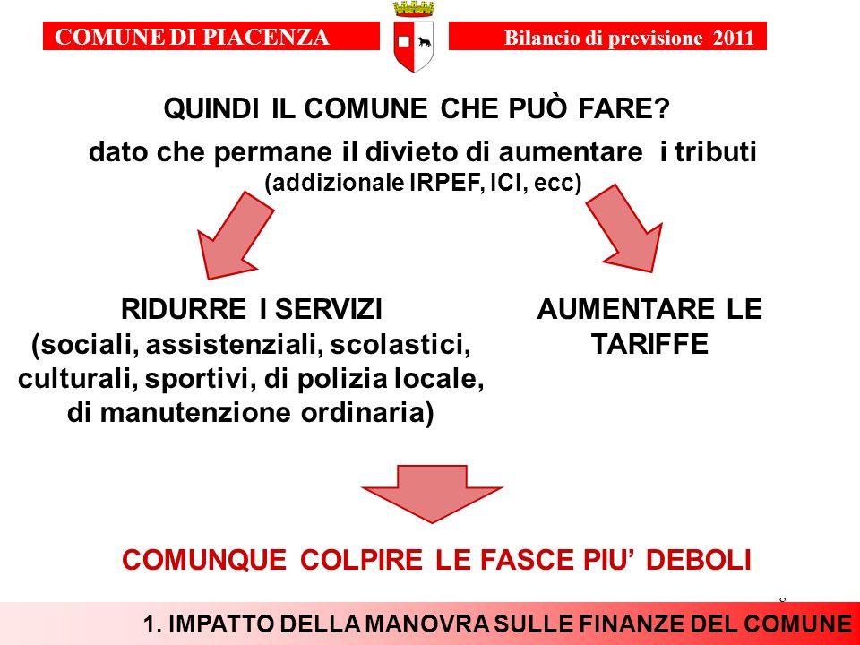 9 Obiettivi 2011 COMUNE DI PIACENZA Bilancio di previsione 2011