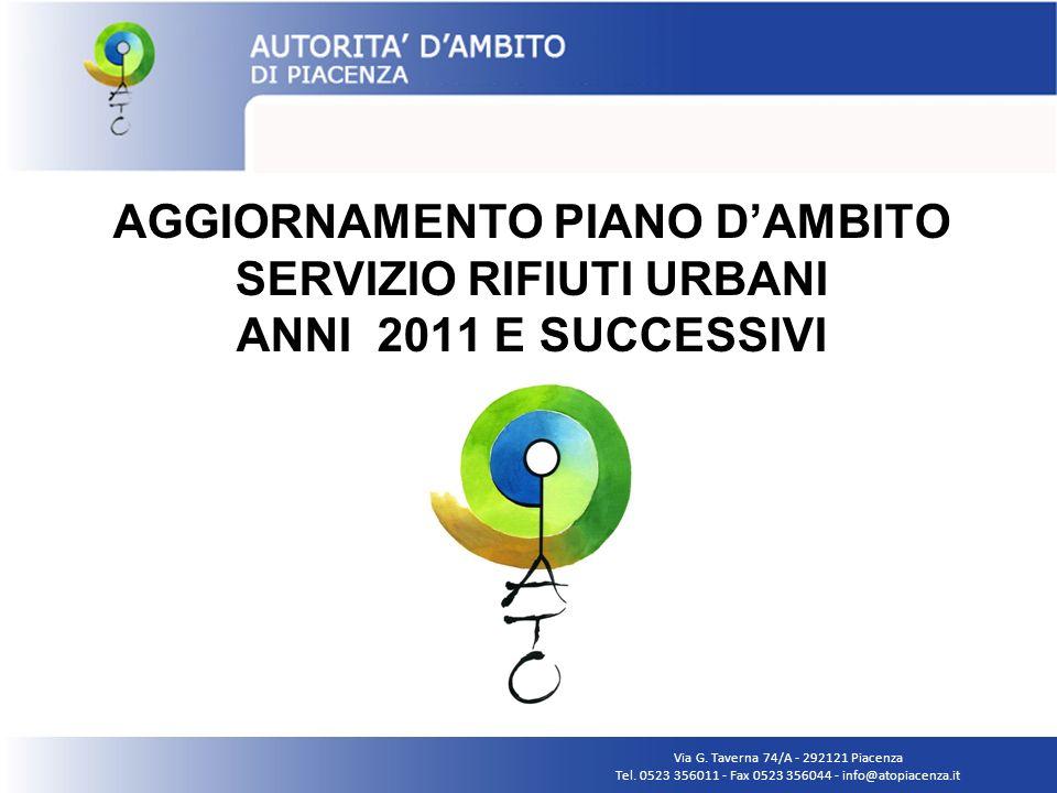 AGGIORNAMENTO PIANO DAMBITO SERVIZIO RIFIUTI URBANI ANNI 2011 E SUCCESSIVI Via G. Taverna 74/A - 292121 Piacenza Tel. 0523 356011 - Fax 0523 356044 -