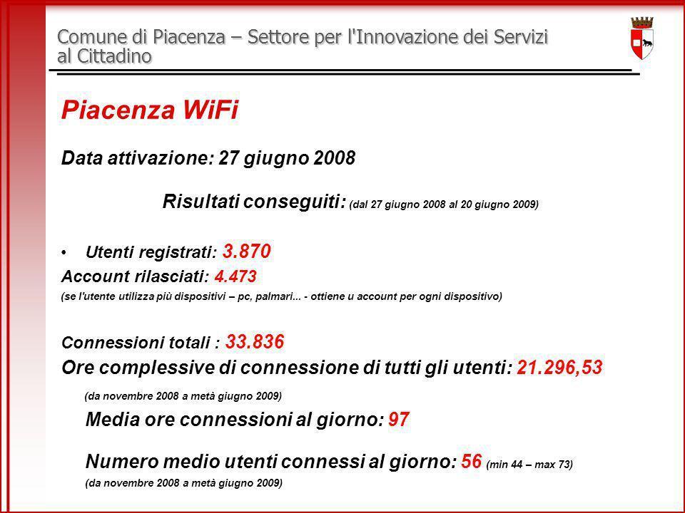 Comune di Piacenza – Settore per l Innovazione dei Servizi al Cittadino Piacenza WiFi Data attivazione: 27 giugno 2008 Risultati conseguiti: (dal 27 giugno 2008 al 20 giugno 2009) Utenti registrati: 3.870 Account rilasciati: 4.473 (se l utente utilizza più dispositivi – pc, palmari...