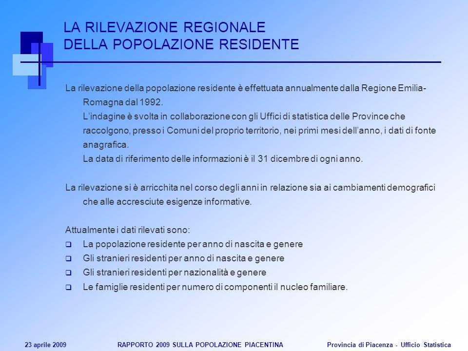 23 aprile 2009 RAPPORTO 2009 SULLA POPOLAZIONE PIACENTINA Provincia di Piacenza - Ufficio Statistica LA RILEVAZIONE REGIONALE DELLA POPOLAZIONE RESIDENTE La rilevazione della popolazione residente è effettuata annualmente dalla Regione Emilia- Romagna dal 1992.