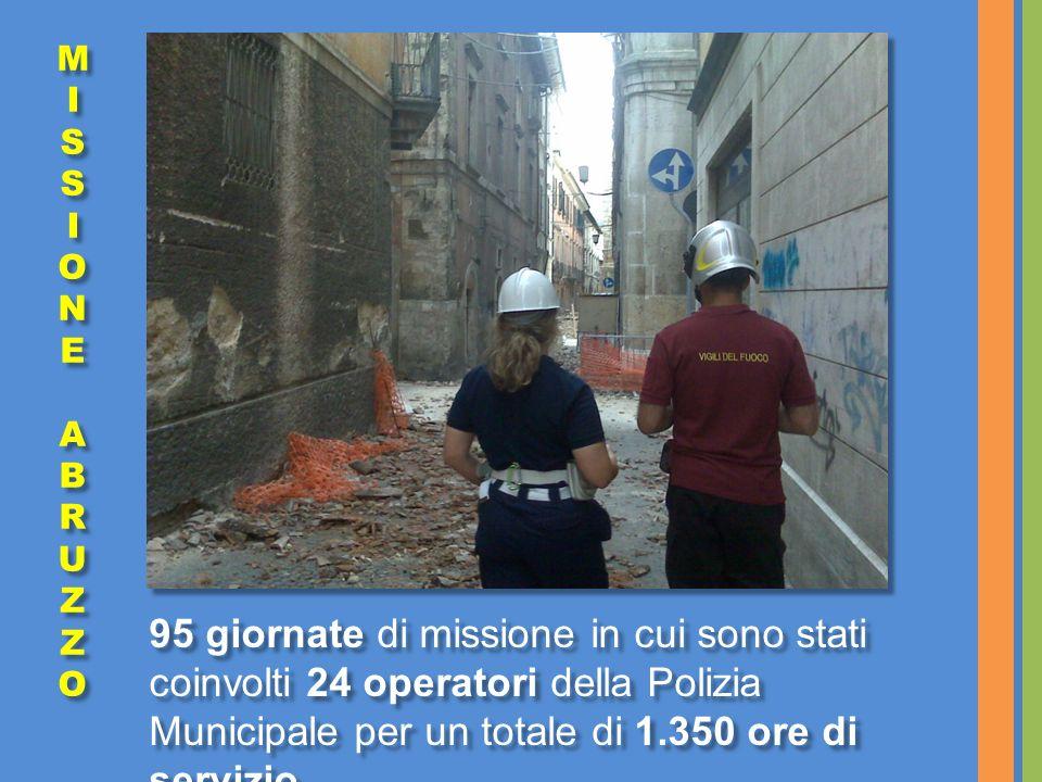 95 giornate di missione in cui sono stati coinvolti 24 operatori della Polizia Municipale per un totale di 1.350 ore di servizio.