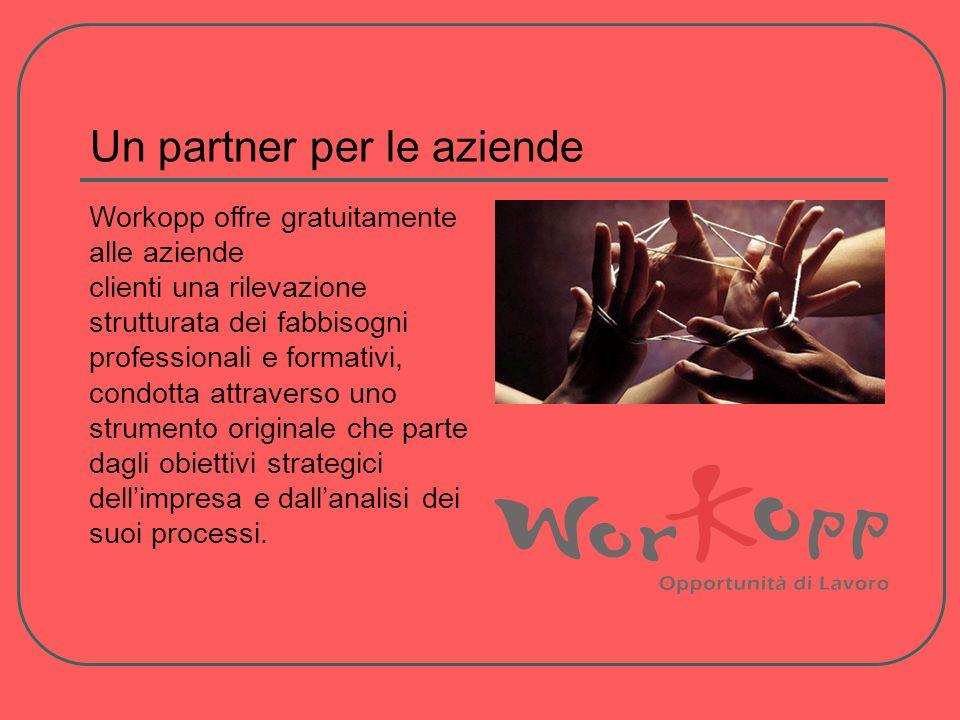 Un partner per le aziende Workopp offre gratuitamente alle aziende clienti una rilevazione strutturata dei fabbisogni professionali e formativi, condotta attraverso uno strumento originale che parte dagli obiettivi strategici dellimpresa e dallanalisi dei suoi processi.