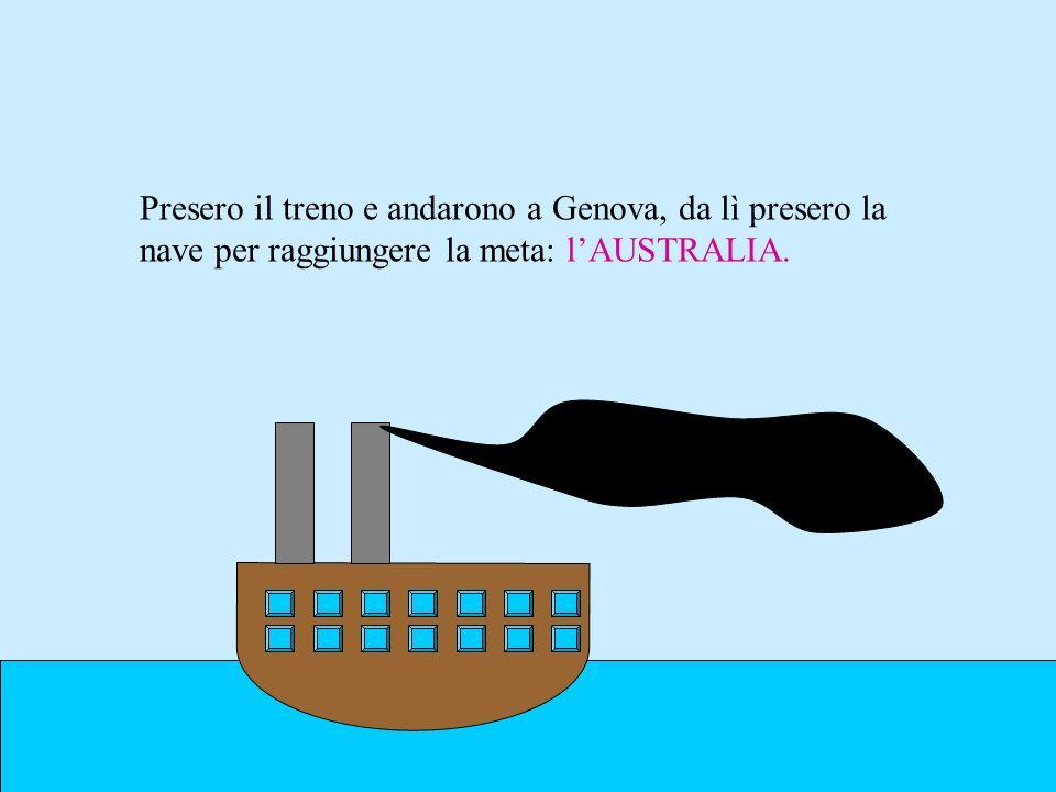 Presero il treno e andarono a Genova, da lì presero la nave per raggiungere la meta: lAUSTRALIA.