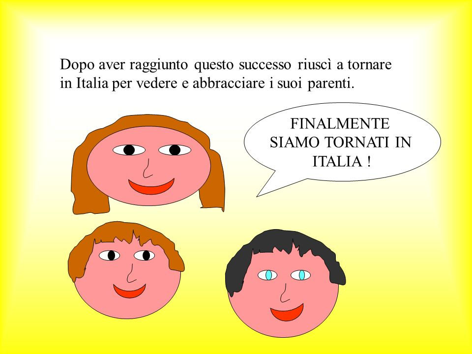 Dopo aver raggiunto questo successo riuscì a tornare in Italia per vedere e abbracciare i suoi parenti. FINALMENTE SIAMO TORNATI IN ITALIA !