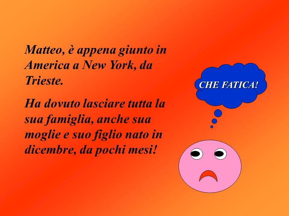 Matteo, è appena giunto in America a New York, da Trieste. Ha dovuto lasciare tutta la sua famiglia, anche sua moglie e suo figlio nato in dicembre, d