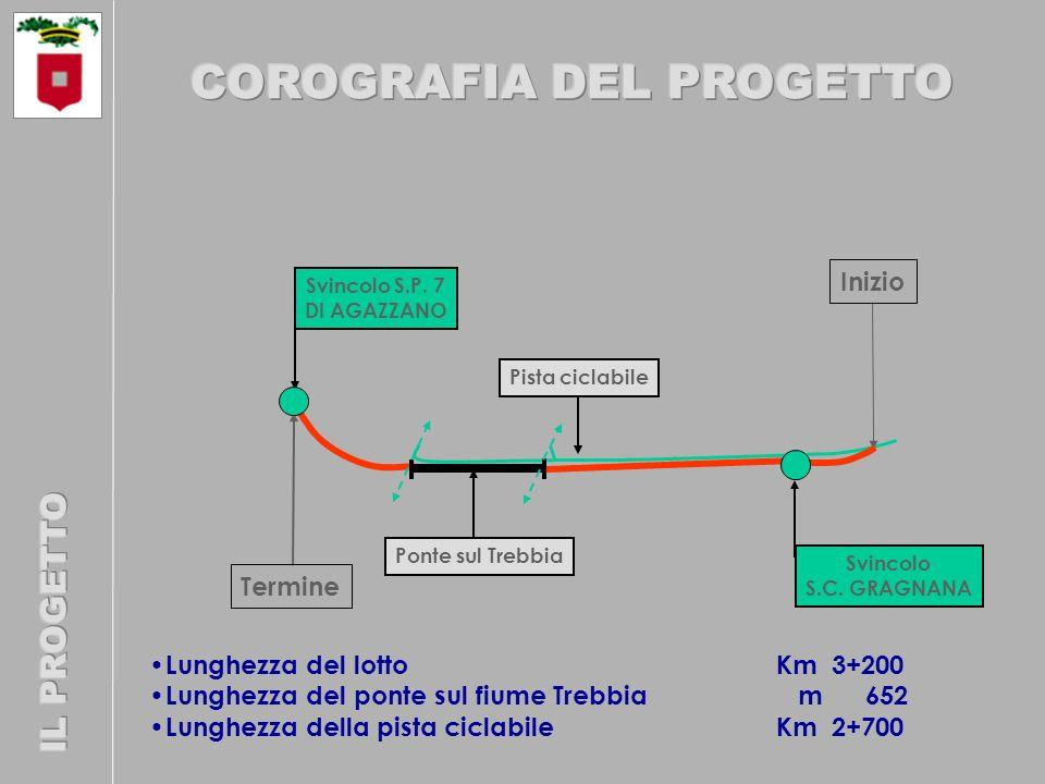 Lunghezza del lotto Km 3+200 Lunghezza del ponte sul fiume Trebbia m 652 Lunghezza della pista ciclabile Km 2+700 Pista ciclabile Inizio Termine Svincolo S.C.