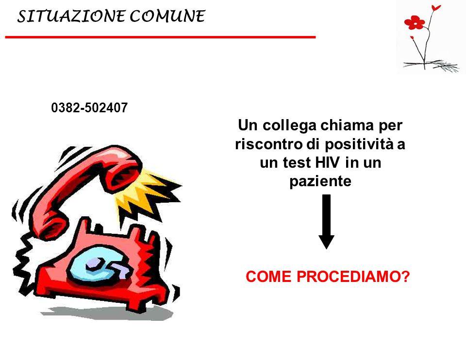 Un collega chiama per riscontro di positività a un test HIV in un paziente SITUAZIONE COMUNE 0382-502407 COME PROCEDIAMO?