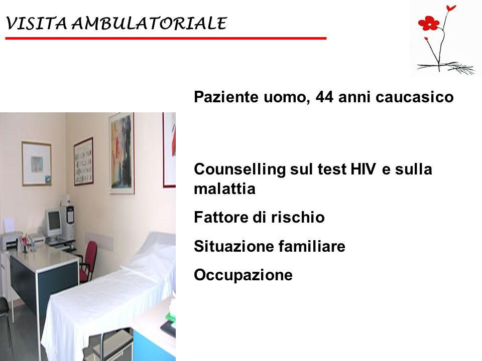 VISITA AMBULATORIALE Paziente uomo, 44 anni caucasico Counselling sul test HIV e sulla malattia Fattore di rischio Situazione familiare Occupazione