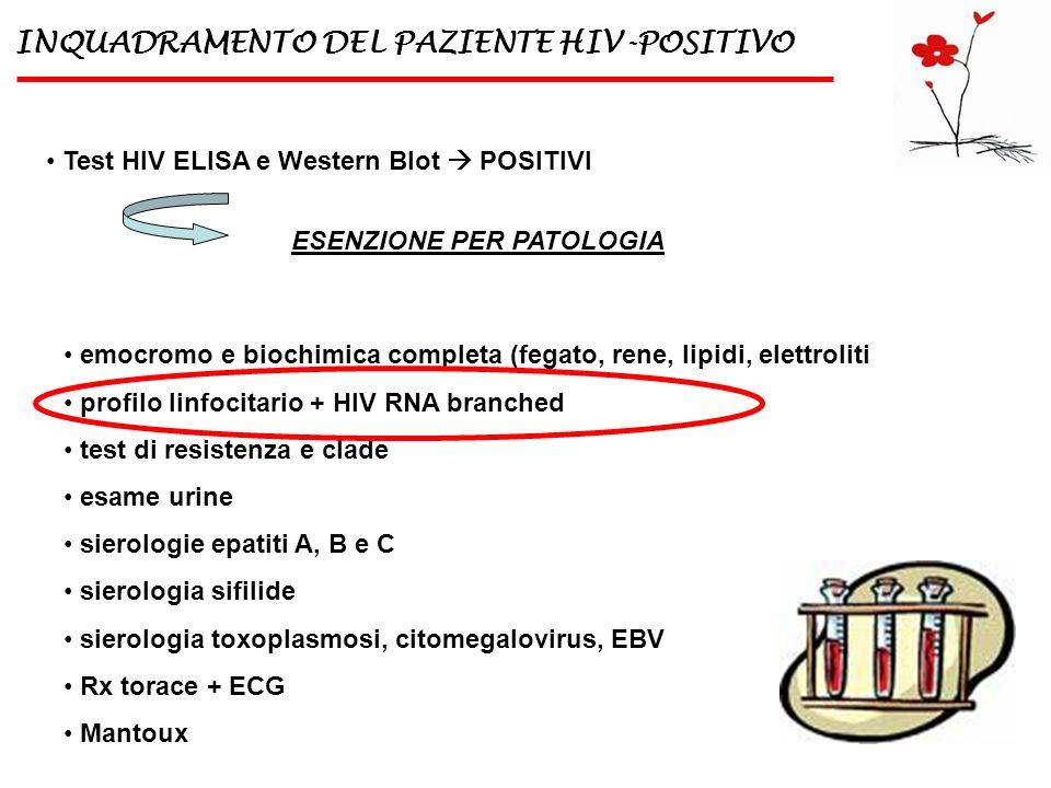 INQUADRAMENTO DEL PAZIENTE HIV-POSITIVO Test HIV ELISA e Western Blot POSITIVI ESENZIONE PER PATOLOGIA emocromo e biochimica completa (fegato, rene, l