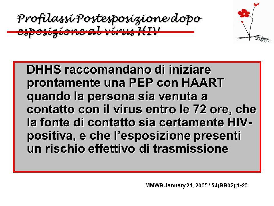 Profilassi Postesposizione dopo esposizione al virus HIV DHHS raccomandano di iniziare prontamente una PEP con HAART quando la persona sia venuta a co