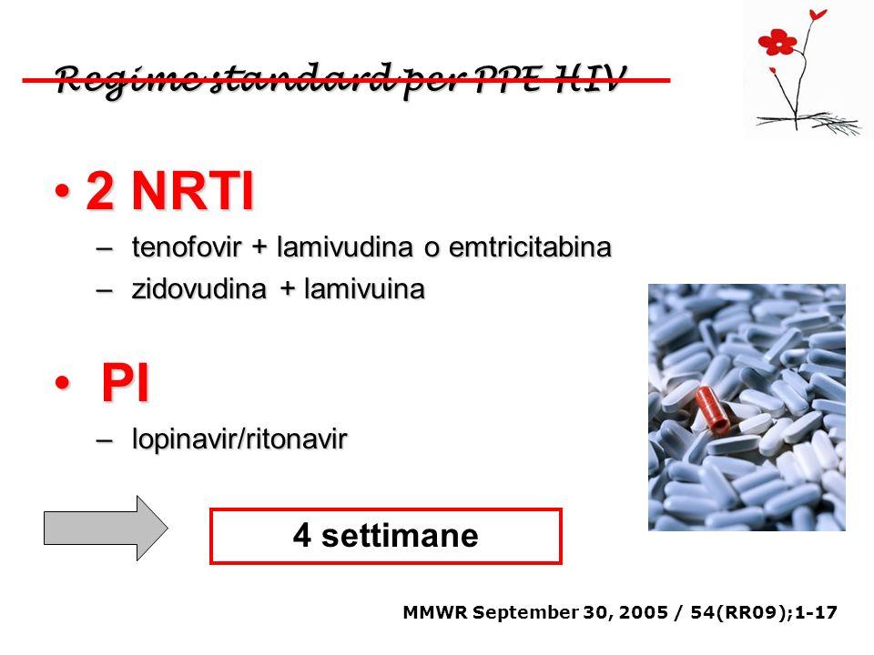 Regime standard per PPE HIV 2 NRTI2 NRTI – tenofovir + lamivudina o emtricitabina – zidovudina + lamivuina PI PI – lopinavir/ritonavir MMWR September
