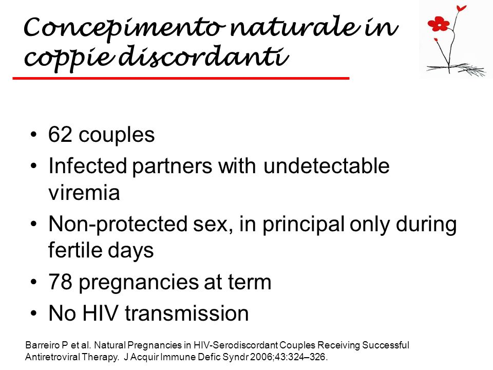 Concepimento naturale in coppie discordanti 62 couples Infected partners with undetectable viremia Non-protected sex, in principal only during fertile