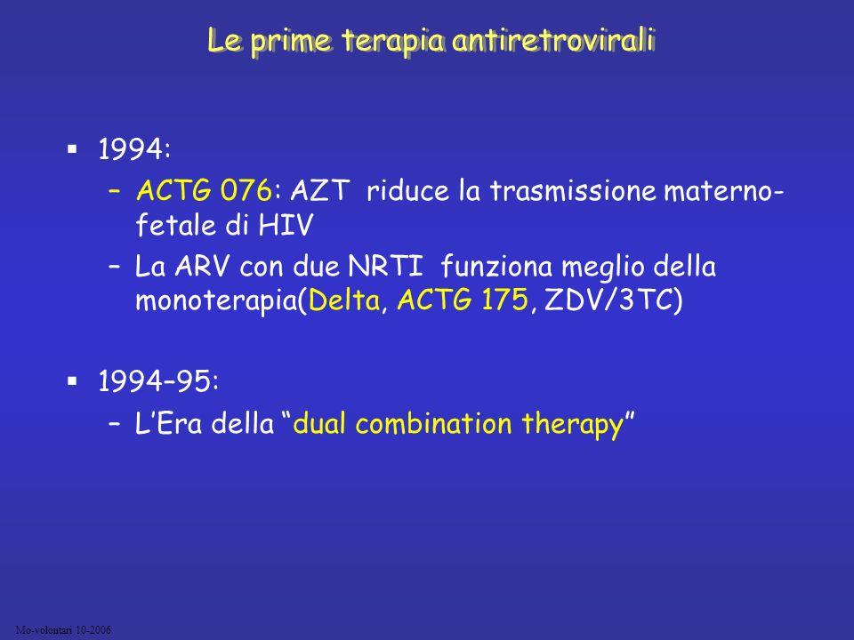 Mo-volontari 10-2006 1994: –ACTG 076: AZT riduce la trasmissione materno- fetale di HIV –La ARV con due NRTI funziona meglio della monoterapia(Delta,