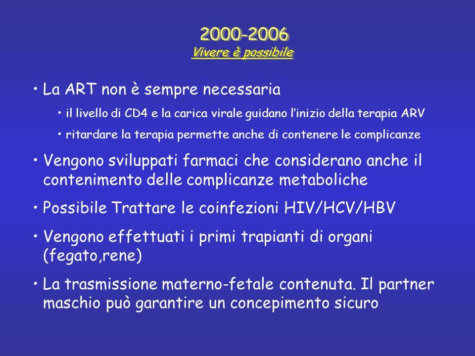 La ART non è sempre necessaria il livello di CD4 e la carica virale guidano linizio della terapia ARV ritardare la terapia permette anche di contenere