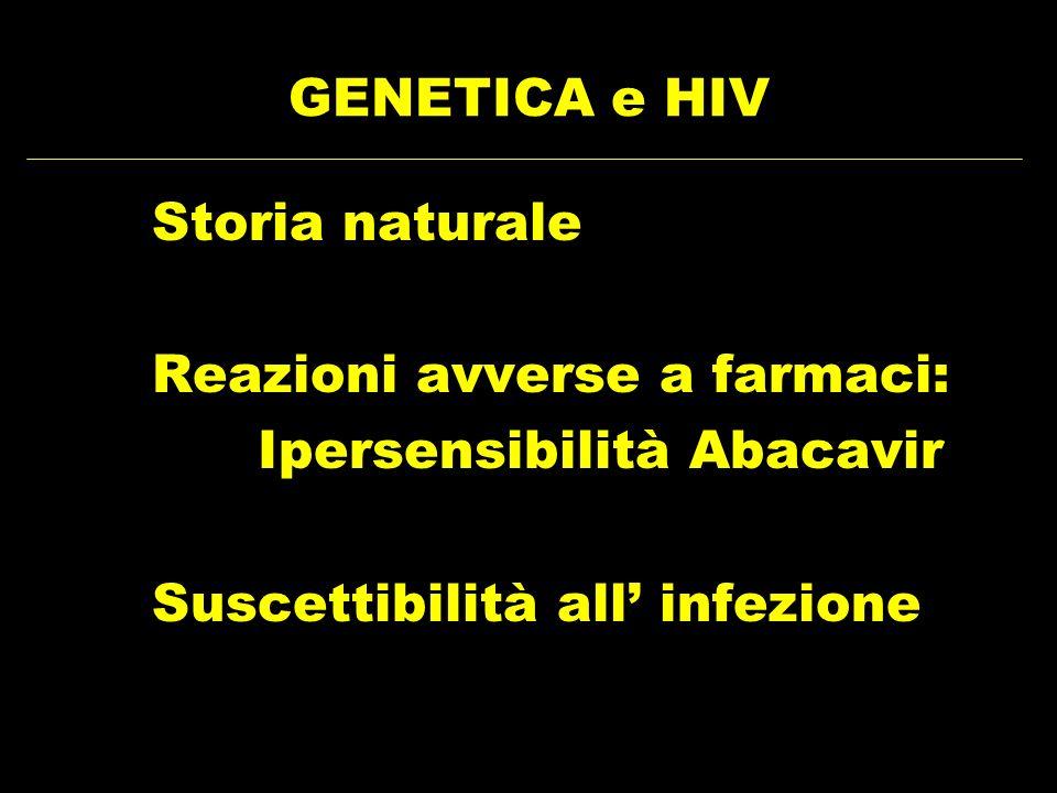 GENETICA e HIV Storia naturale Reazioni avverse a farmaci: Ipersensibilità Abacavir Suscettibilità all infezione