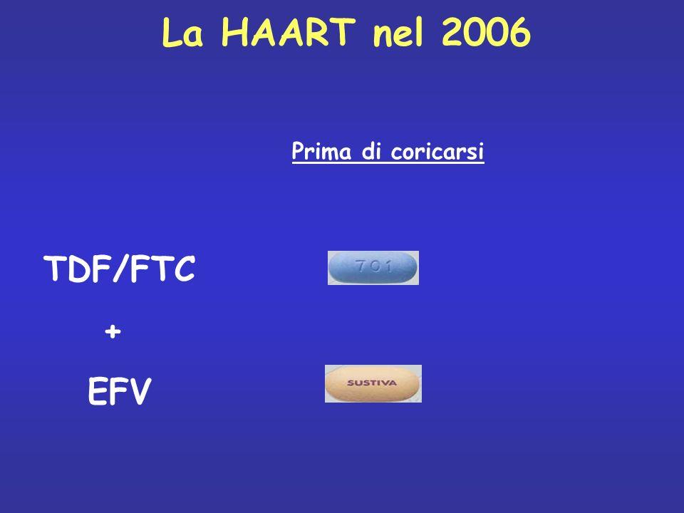Prima di coricarsi TDF/FTC + EFV La HAART nel 2006