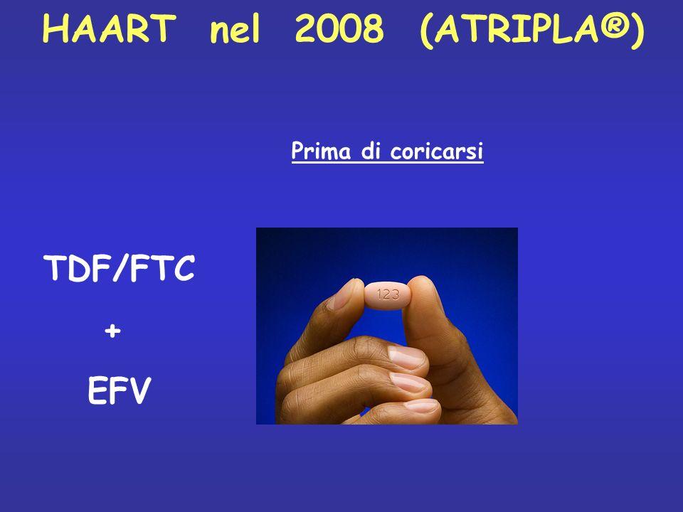 HAART nel 2008 (ATRIPLA®) TDF/FTC + EFV Prima di coricarsi