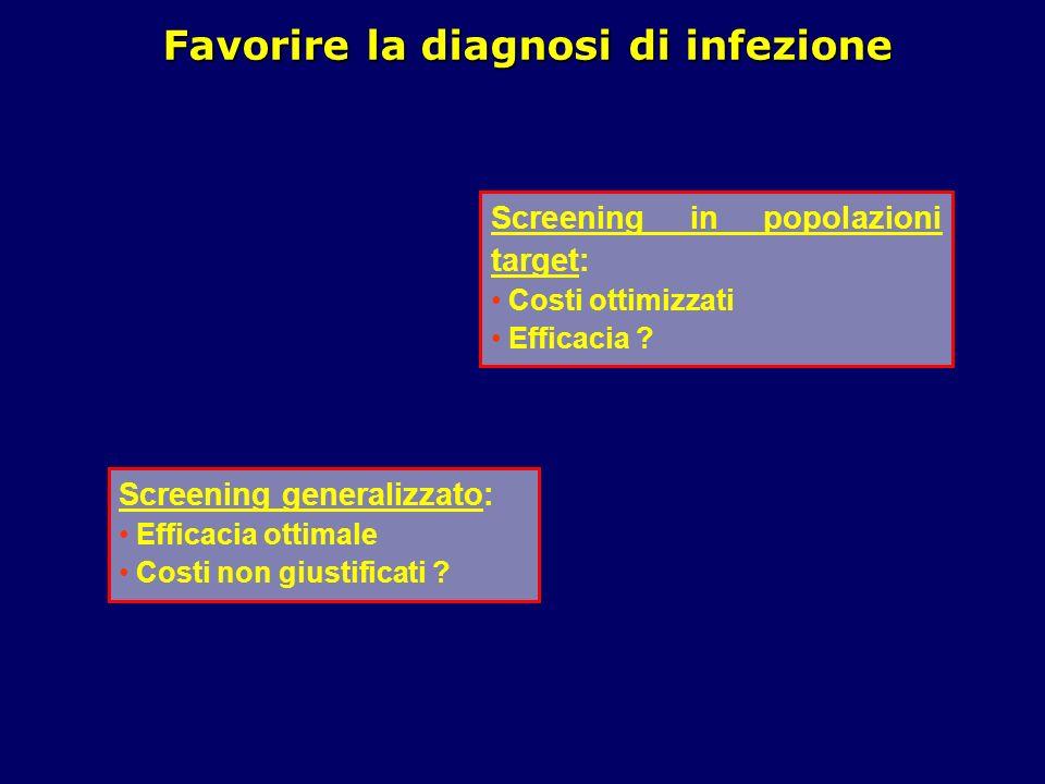 Favorire la diagnosi di infezione Screening generalizzato: Efficacia ottimale Costi non giustificati ? Screening in popolazioni target: Costi ottimizz