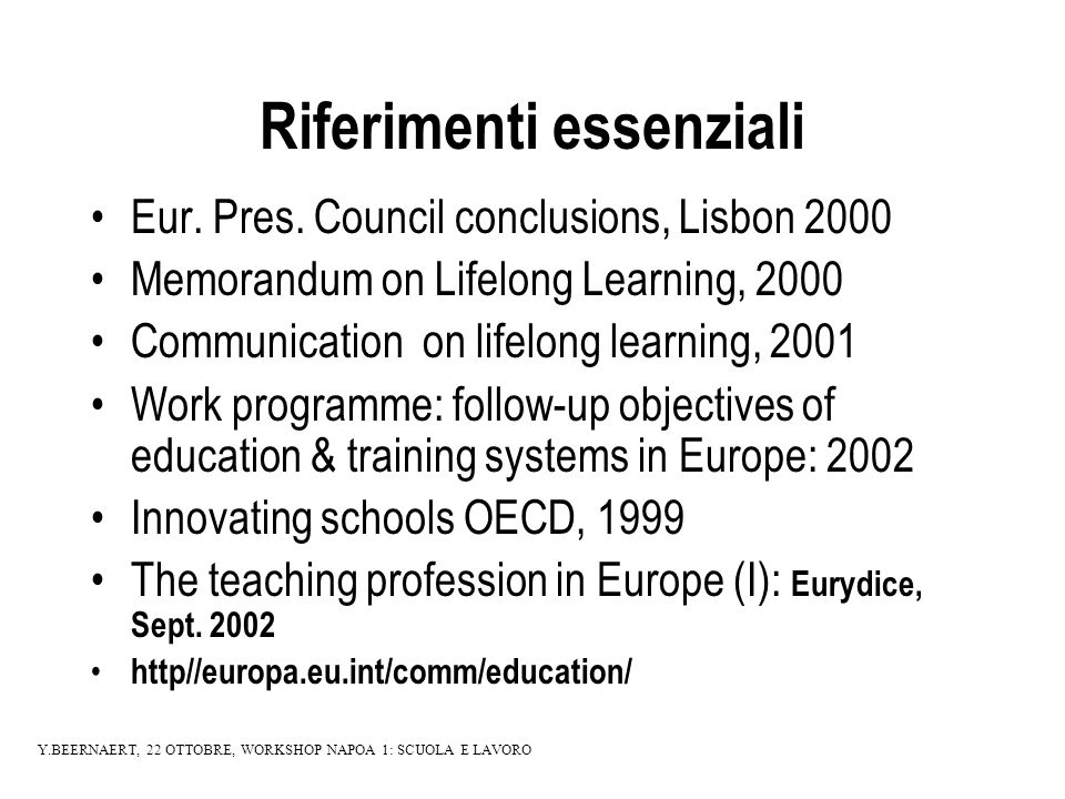 Riferimenti essenziali Eur. Pres.