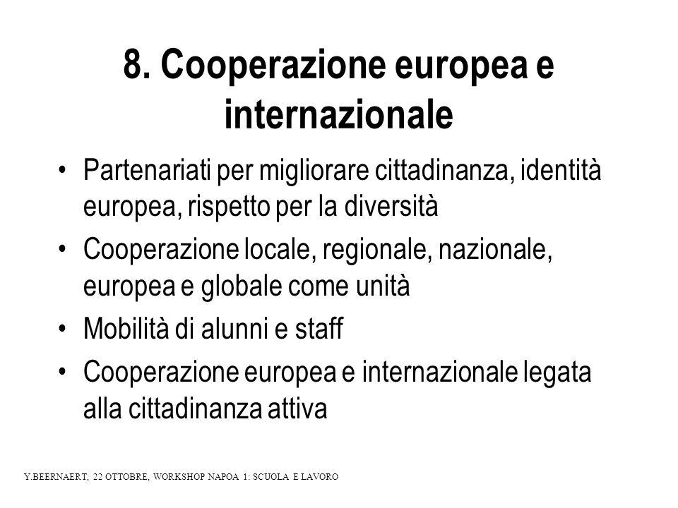 8. Cooperazione europea e internazionale Partenariati per migliorare cittadinanza, identità europea, rispetto per la diversità Cooperazione locale, re