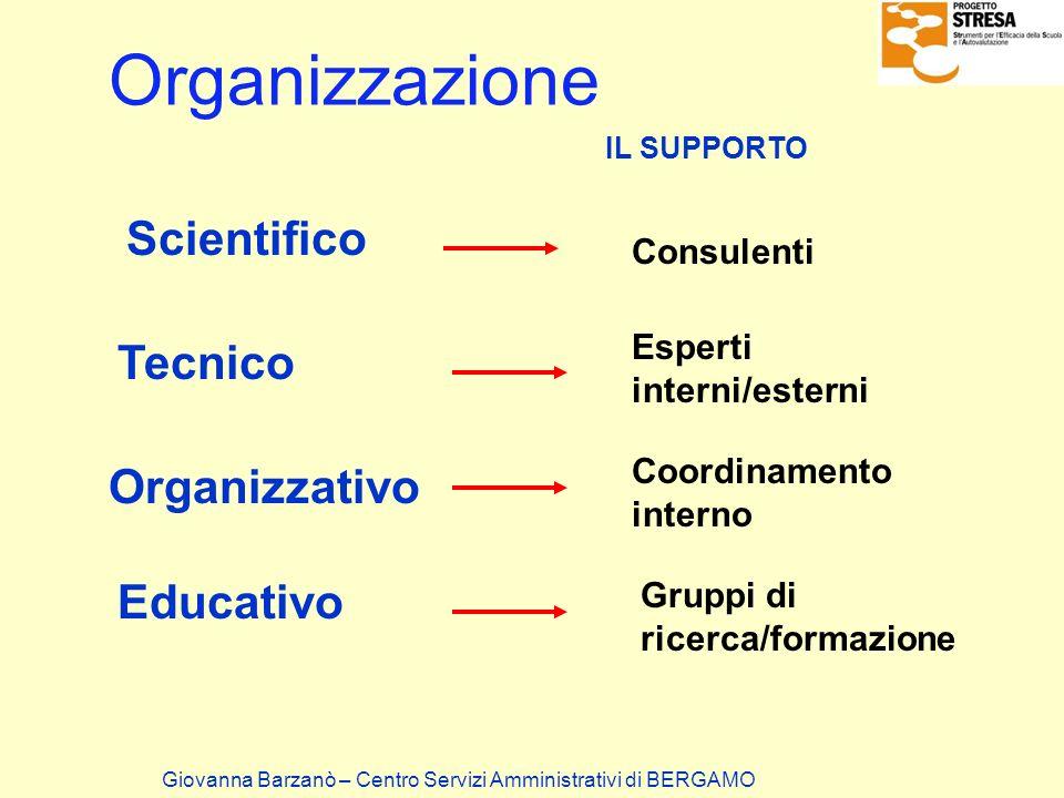 Organizzazione Scientifico Consulenti Tecnico Organizzativo Educativo Esperti interni/esterni Coordinamento interno Gruppi di ricerca/formazione IL SU