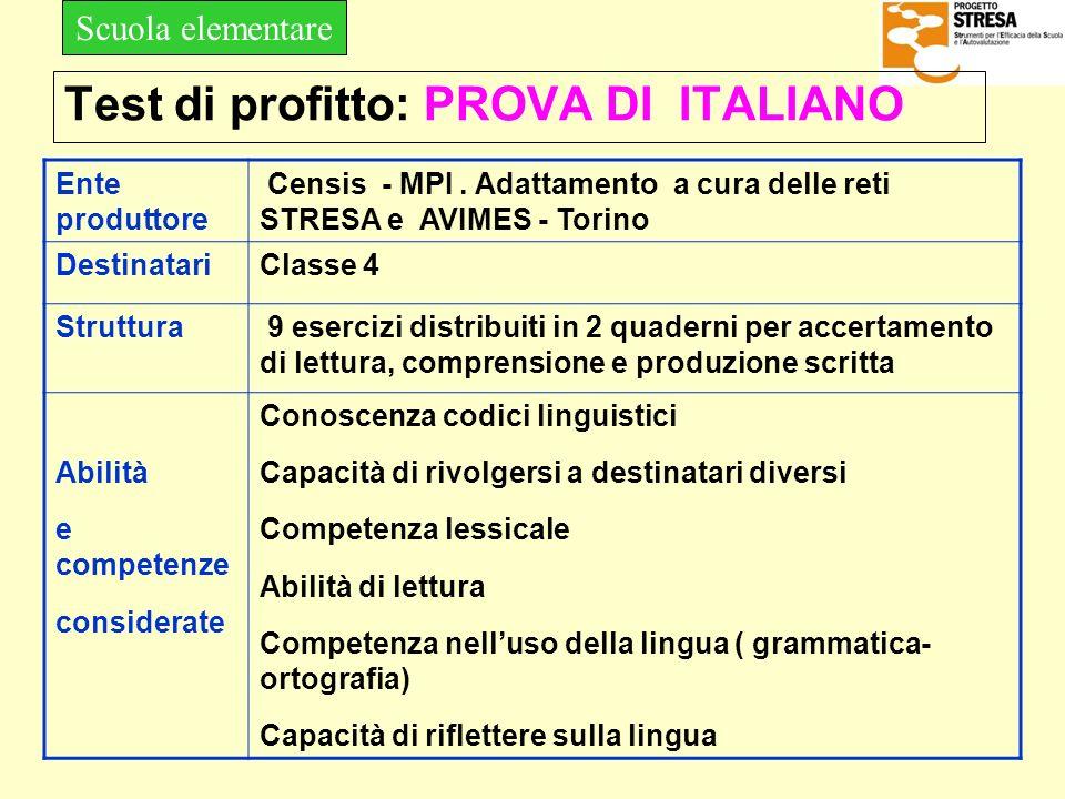 Test di profitto: PROVA DI ITALIANO Ente produttore Censis - MPI. Adattamento a cura delle reti STRESA e AVIMES - Torino DestinatariClasse 4 Struttura