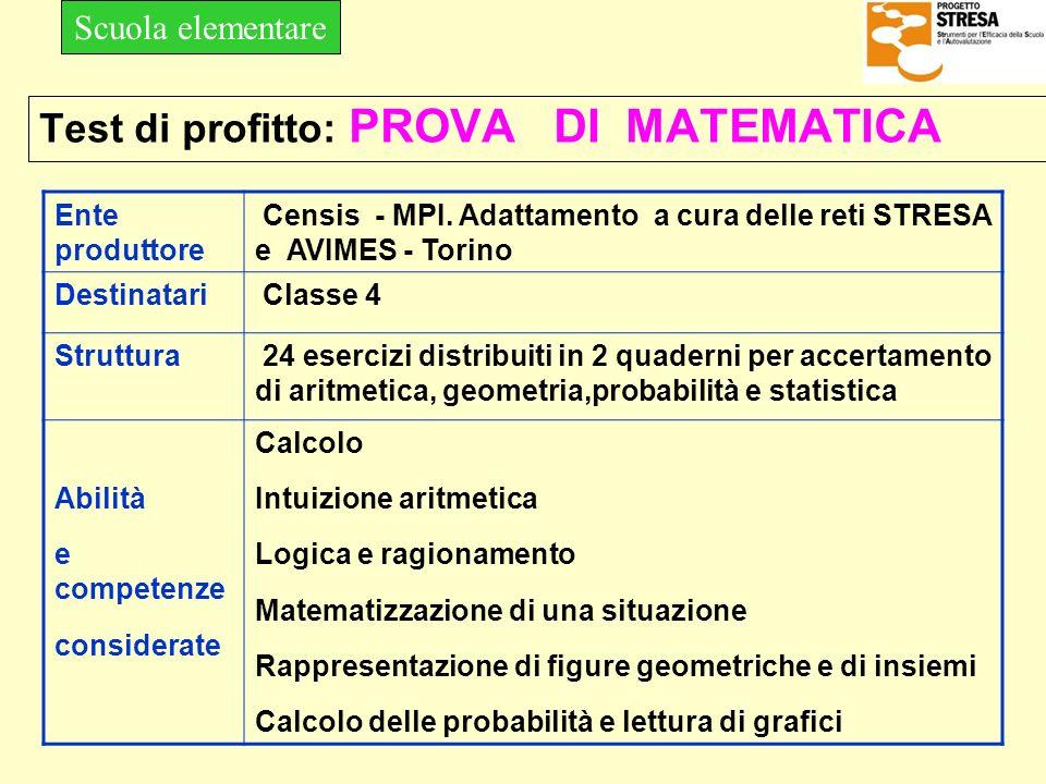 Test di profitto: PROVA DI MATEMATICA Ente produttore Censis - MPI. Adattamento a cura delle reti STRESA e AVIMES - Torino Destinatari Classe 4 Strutt