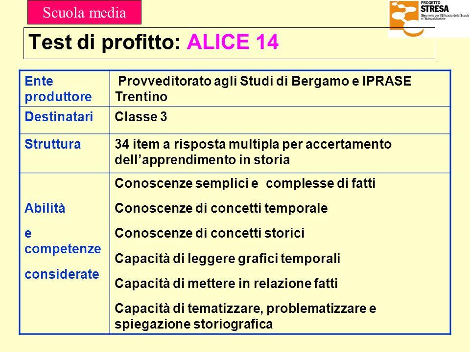 Test di profitto: ALICE 14 Ente produttore Provveditorato agli Studi di Bergamo e IPRASE Trentino DestinatariClasse 3 Struttura34 item a risposta mult