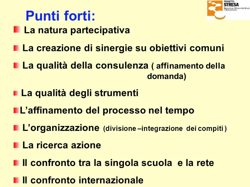 Punti forti: La natura partecipativa La creazione di sinergie su obiettivi comuni La qualità della consulenza ( affinamento della domanda) La qualità