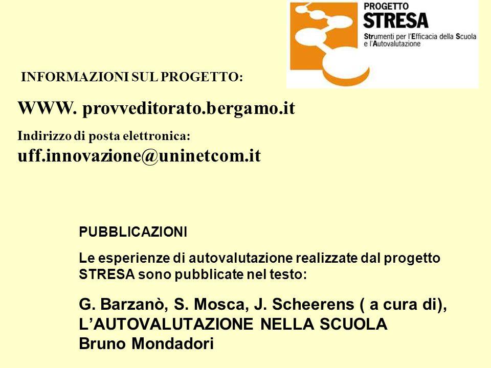 PUBBLICAZIONI Le esperienze di autovalutazione realizzate dal progetto STRESA sono pubblicate nel testo: G. Barzanò, S. Mosca, J. Scheerens ( a cura d