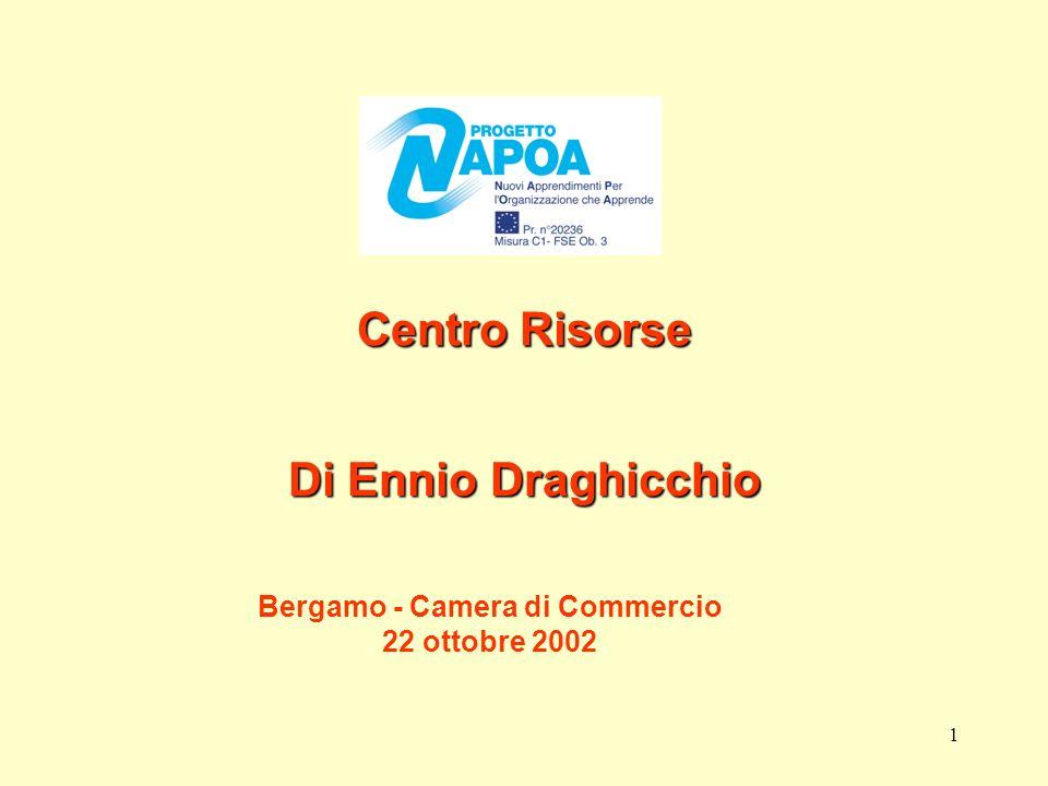 1 Centro Risorse Di Ennio Draghicchio Bergamo - Camera di Commercio 22 ottobre 2002