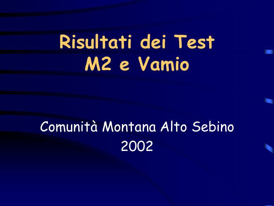 Risultati dei Test M2 e Vamio Comunità Montana Alto Sebino 2002