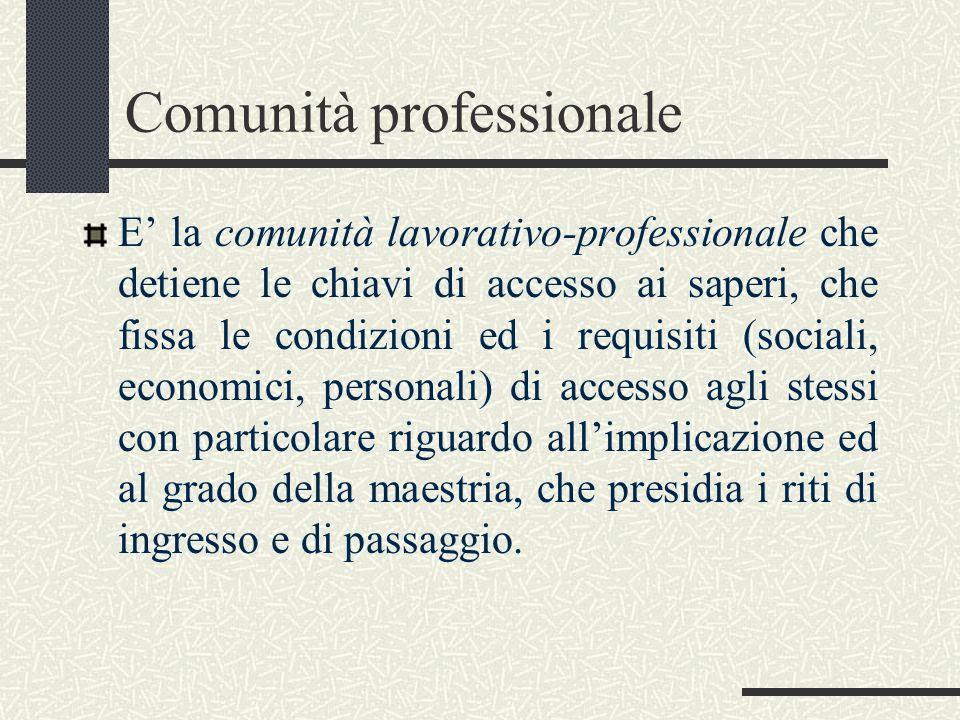Comunità professionale E la comunità lavorativo-professionale che detiene le chiavi di accesso ai saperi, che fissa le condizioni ed i requisiti (soci