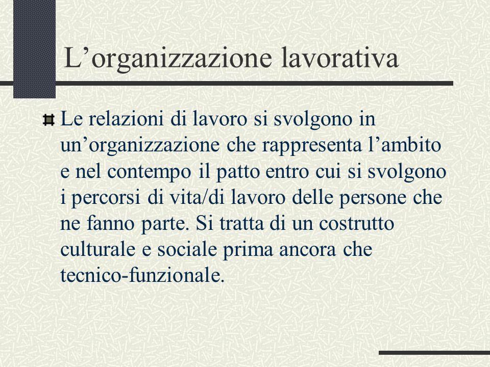 Lorganizzazione lavorativa Le relazioni di lavoro si svolgono in unorganizzazione che rappresenta lambito e nel contempo il patto entro cui si svolgon
