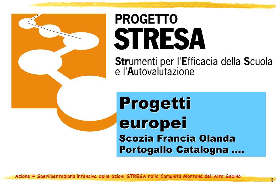 Azione 4 Sperimentazione intensiva delle azioni STRESA nella Comunità Montana dellAlto Sebino 6 Progetti europei Progetti europei Scozia Francia Olanda Portogallo Catalogna ….